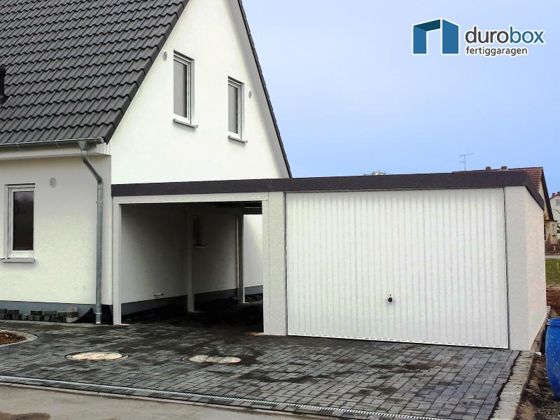 Fertiggarage mit carport anbau  Discount-Garagen.de - Garage mit Carport - Typ Superior
